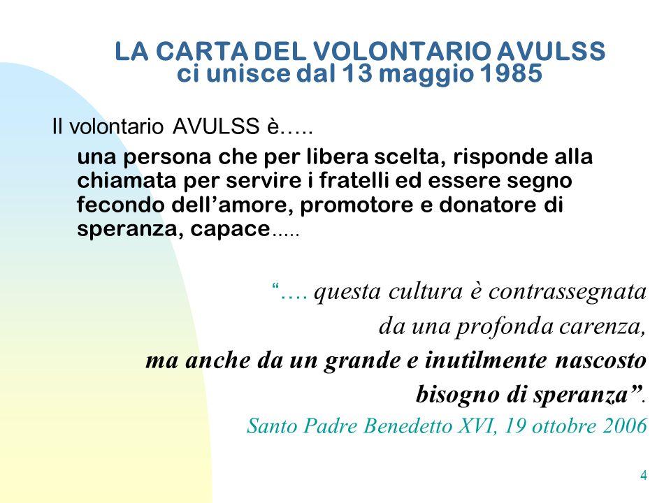 4 LA CARTA DEL VOLONTARIO AVULSS ci unisce dal 13 maggio 1985 Il volontario AVULSS è….. una persona che per libera scelta, risponde alla chiamata per