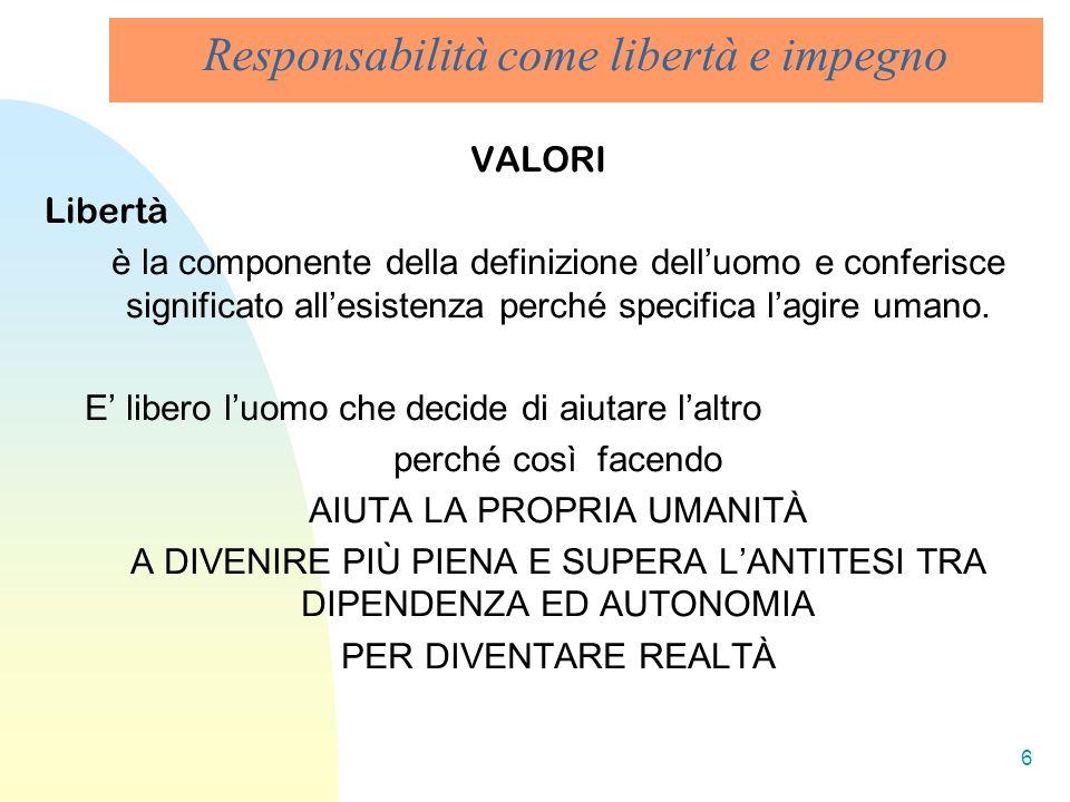 6 Responsabilità come libertà e impegno VALORI Libertà è la componente della definizione delluomo e conferisce significato allesistenza perché specifi