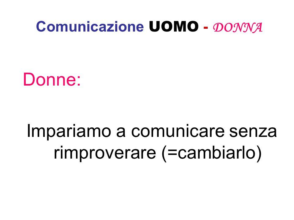 Comunicazione UOMO - DONNA Donne: Impariamo a comunicare senza rimproverare (=cambiarlo)