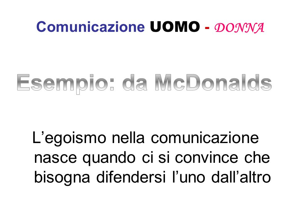 Comunicazione UOMO - DONNA Legoismo nella comunicazione nasce quando ci si convince che bisogna difendersi luno dallaltro
