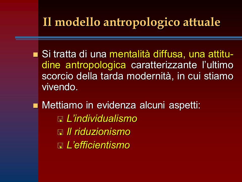 Il modello antropologico attuale n Si tratta di una mentalità diffusa, una attitu- dine antropologica caratterizzante lultimo scorcio della tarda modernità, in cui stiamo vivendo.