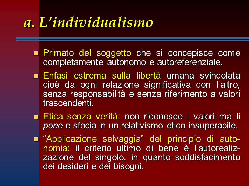 a. Lindividualismo n Primato del soggetto che si concepisce come completamente autonomo e autoreferenziale. n Enfasi estrema sulla libertà umana svinc