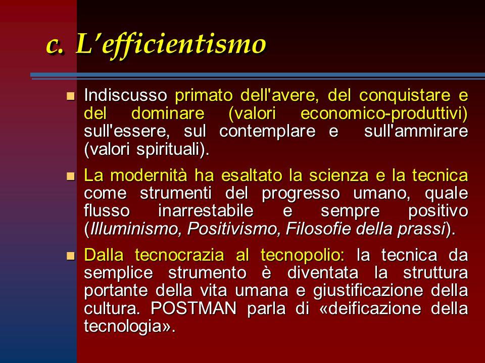 c.Lefficientismo n Indiscusso primato dell avere, del conquistare e del dominare (valori economico-produttivi) sull essere, sul contemplare e sull ammirare (valori spirituali).