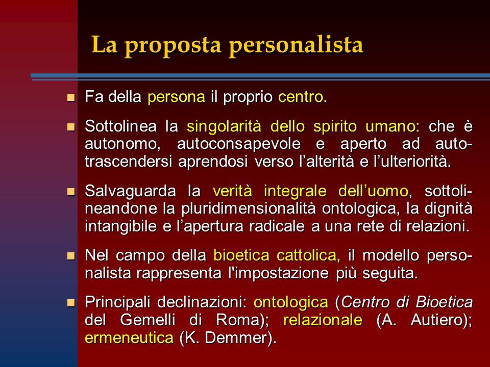 n Fa della persona il proprio centro. n Sottolinea la singolarità dello spirito umano: che è autonomo, autoconsapevole e aperto ad auto- trascendersi