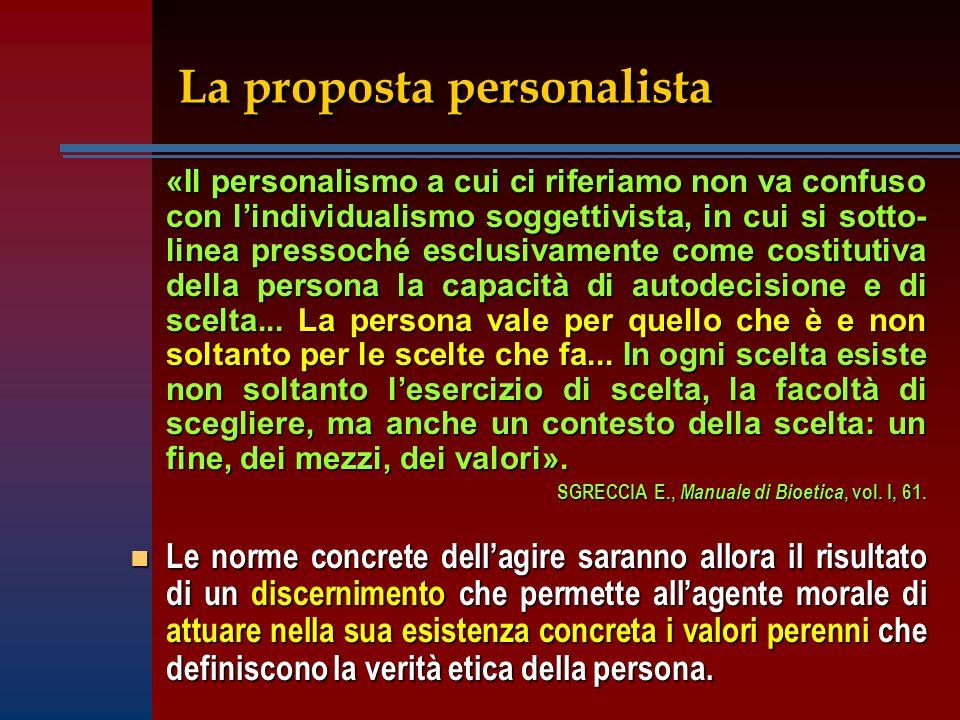 «Il personalismo a cui ci riferiamo non va confuso con lindividualismo soggettivista, in cui si sotto- linea pressoché esclusivamente come costitutiva della persona la capacità di autodecisione e di scelta...