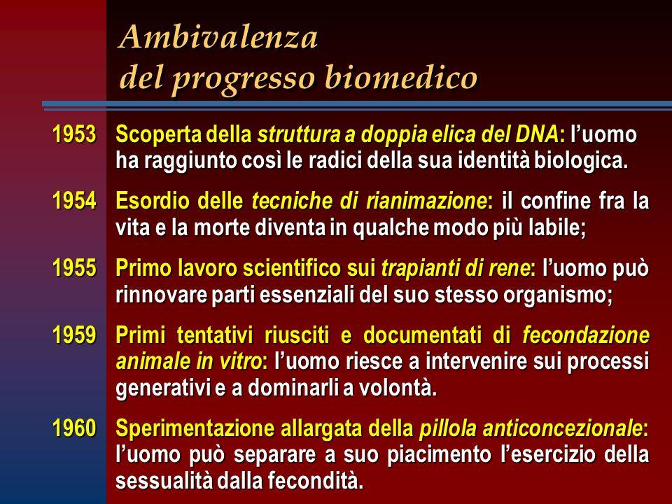 Ambivalenza del progresso biomedico 1953 Scoperta della struttura a doppia elica del DNA : luomo ha raggiunto così le radici della sua identità biolog