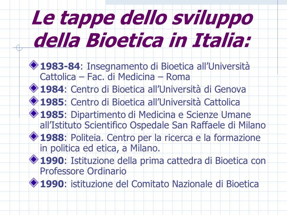 Le tappe dello sviluppo della Bioetica in Italia: 1983-84: Insegnamento di Bioetica allUniversità Cattolica – Fac.
