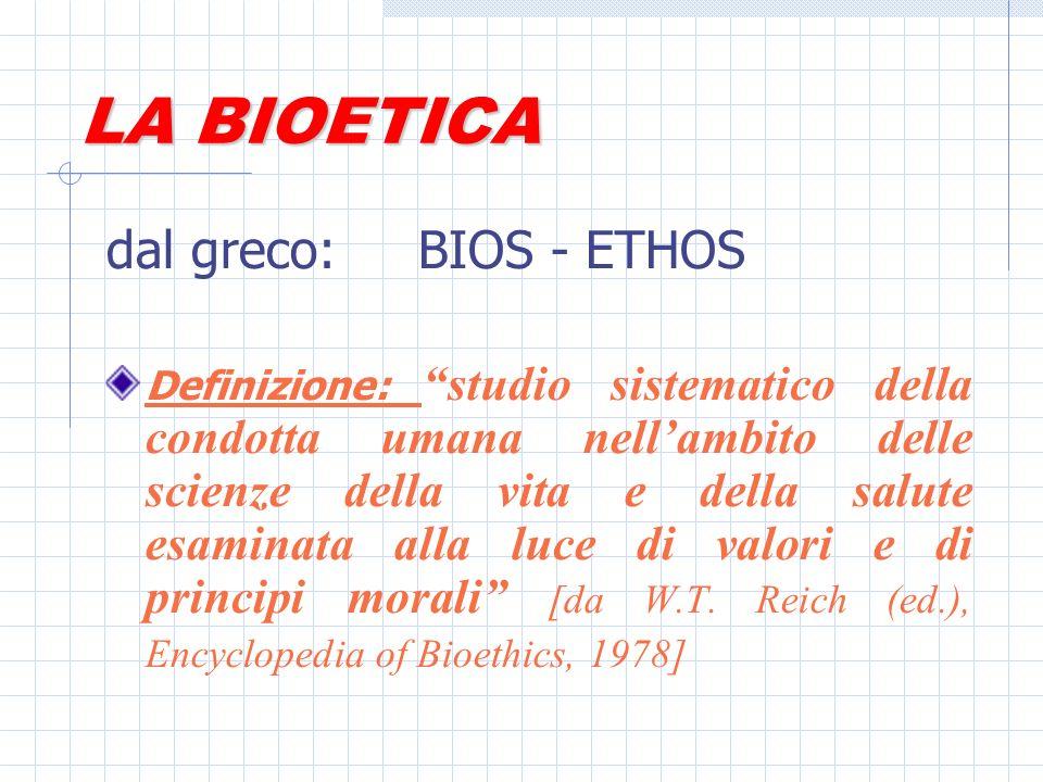 Origine del termine (1) La parola bioetica viene usata per primo dalloncologo Van Rensselaer Potter nel 1970, che poi nel 1971 ne tratta in maniera sistematica nel volume Bioethics: bridge to the future, il cui 1° capitolo si intitola: Bioethics: science of survival.