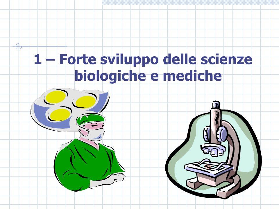 1 – Forte sviluppo delle scienze biologiche e mediche