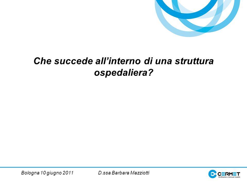 Bologna 10 giugno 2011D.ssa Barbara Mazziotti Che succede allinterno di una struttura ospedaliera