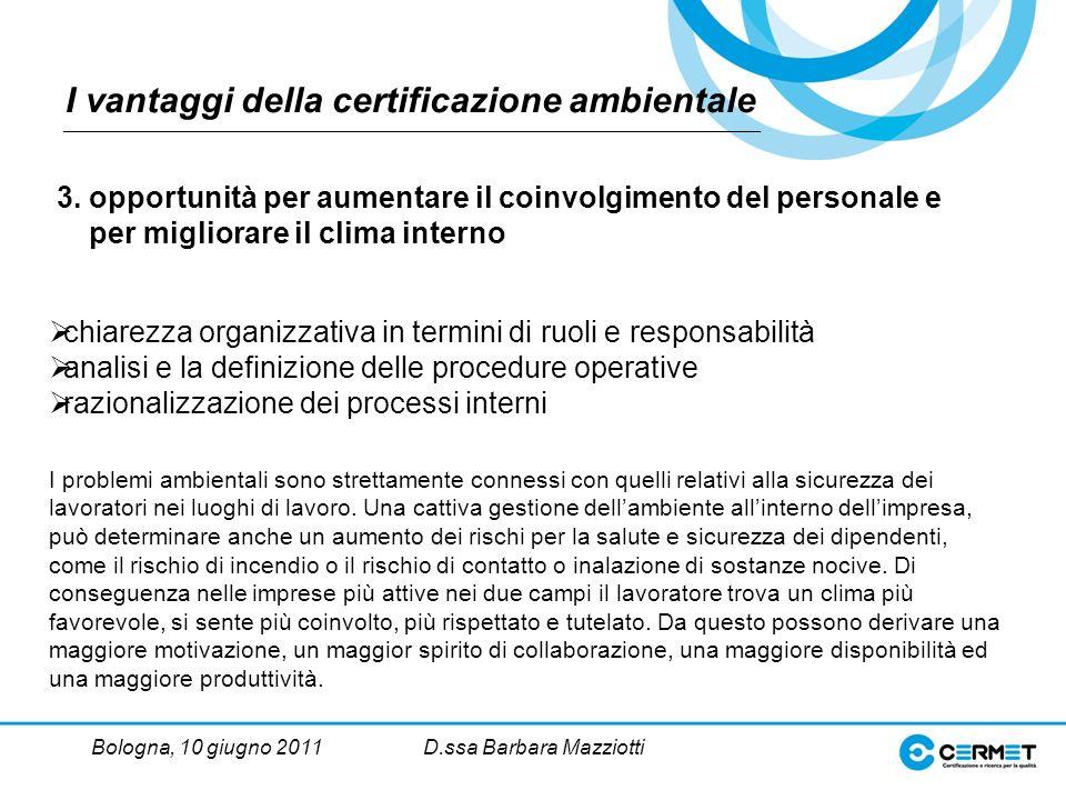 Bologna, 10 giugno 2011D.ssa Barbara Mazziotti chiarezza organizzativa in termini di ruoli e responsabilità analisi e la definizione delle procedure operative razionalizzazione dei processi interni 3.