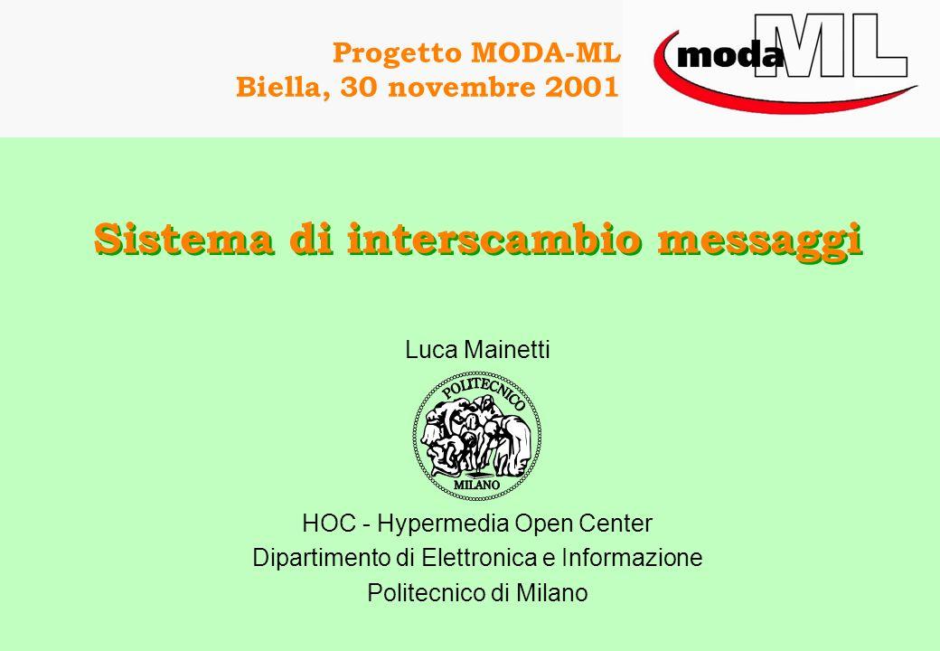 Progetto MODA-ML Biella, 30 novembre 2001 Sistema di interscambio messaggi Luca Mainetti HOC - Hypermedia Open Center Dipartimento di Elettronica e Informazione Politecnico di Milano