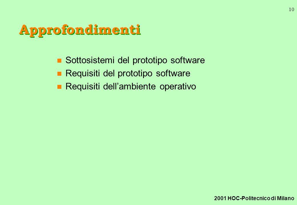 2001 HOC-Politecnico di Milano 10 Approfondimenti n Sottosistemi del prototipo software n Requisiti del prototipo software n Requisiti dellambiente operativo