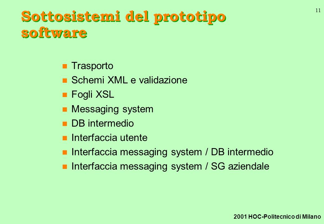 2001 HOC-Politecnico di Milano 11 Sottosistemi del prototipo software n Trasporto n Schemi XML e validazione n Fogli XSL n Messaging system n DB intermedio n Interfaccia utente n Interfaccia messaging system / DB intermedio n Interfaccia messaging system / SG aziendale