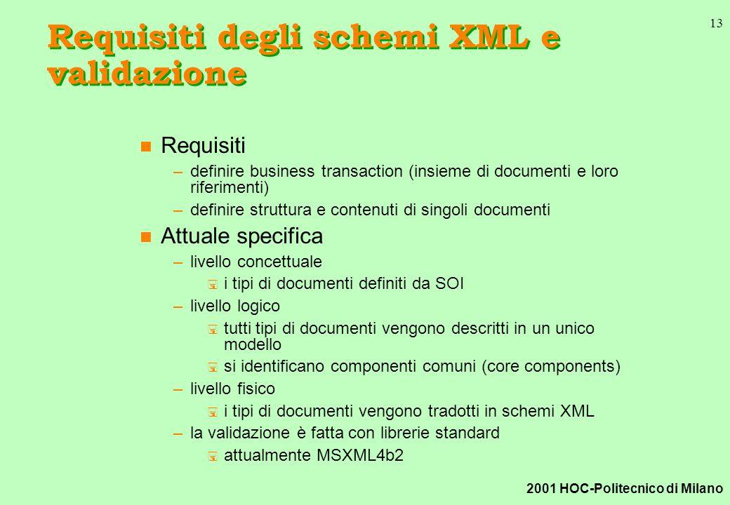 2001 HOC-Politecnico di Milano 13 Requisiti degli schemi XML e validazione n Requisiti –definire business transaction (insieme di documenti e loro riferimenti) –definire struttura e contenuti di singoli documenti n Attuale specifica –livello concettuale < i tipi di documenti definiti da SOI –livello logico < tutti tipi di documenti vengono descritti in un unico modello < si identificano componenti comuni (core components) –livello fisico < i tipi di documenti vengono tradotti in schemi XML –la validazione è fatta con librerie standard < attualmente MSXML4b2