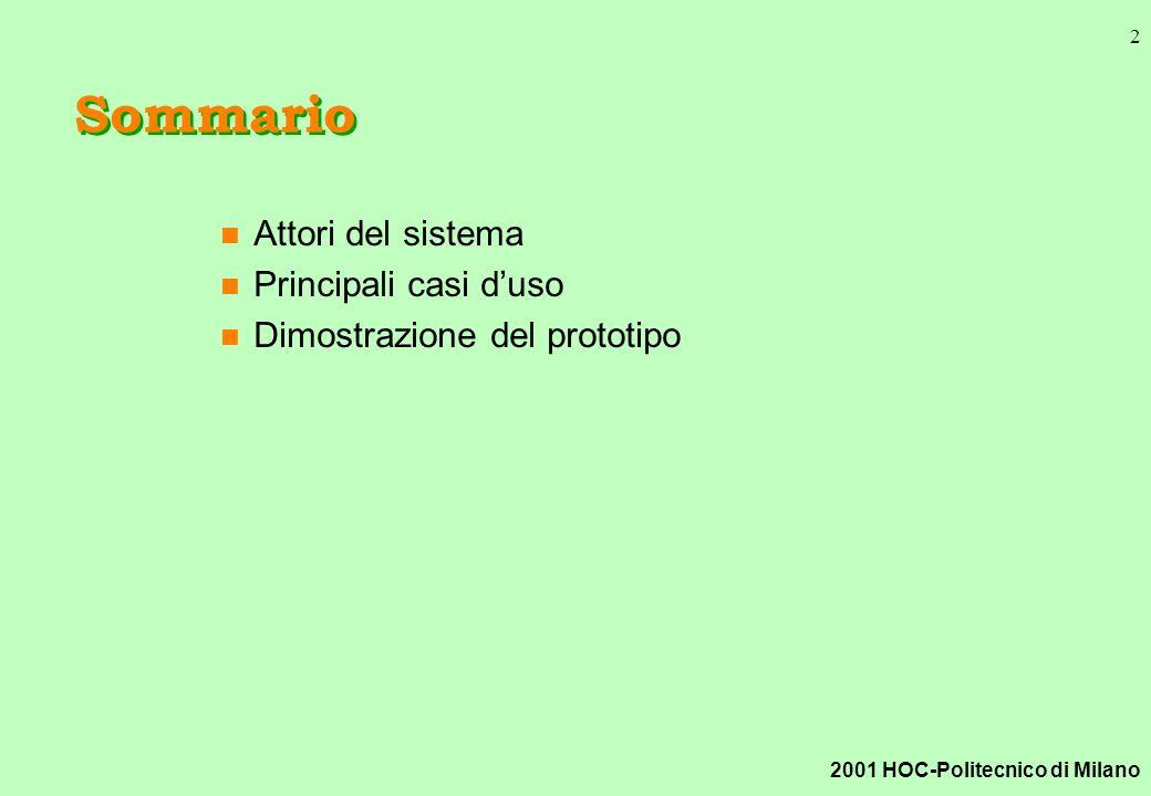 2001 HOC-Politecnico di Milano 2 Sommario n Attori del sistema n Principali casi duso n Dimostrazione del prototipo