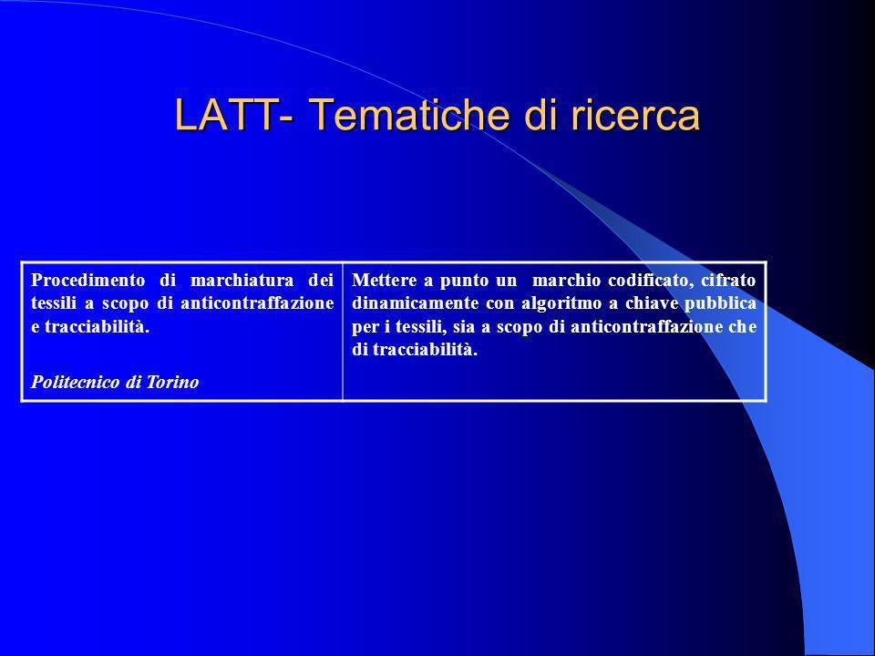 LATT- Tematiche di ricerca Procedimento di marchiatura dei tessili a scopo di anticontraffazione e tracciabilità. Politecnico di Torino Mettere a punt