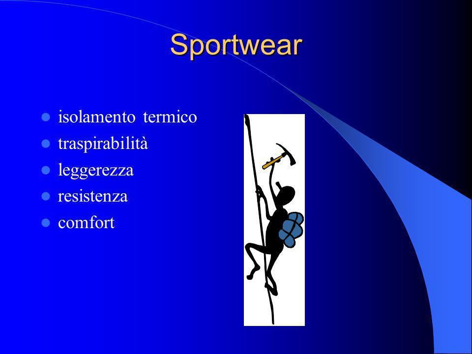 Sportwear isolamento termico traspirabilità leggerezza resistenza comfort