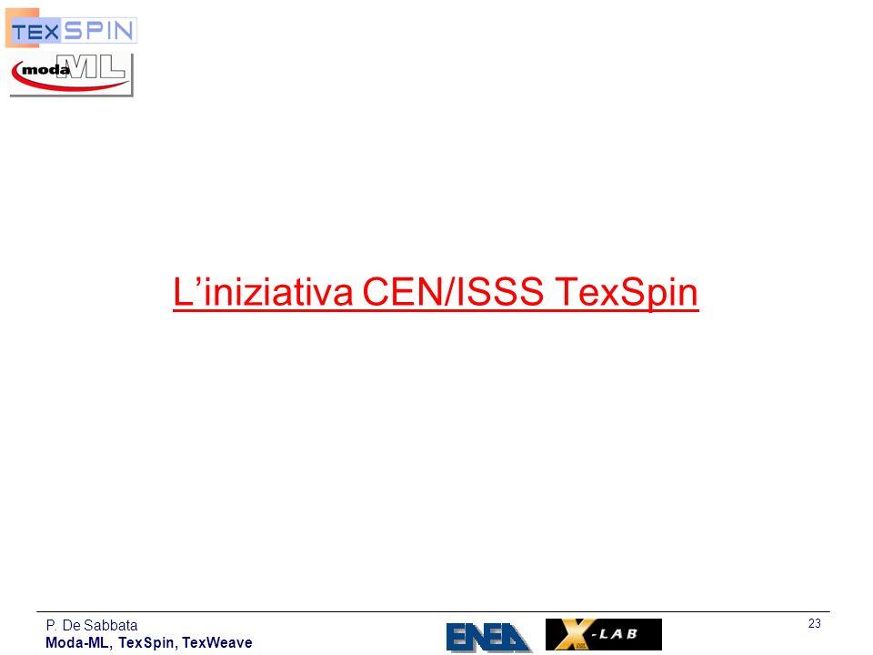 P. De Sabbata Moda-ML, TexSpin, TexWeave 23 Liniziativa CEN/ISSS TexSpin