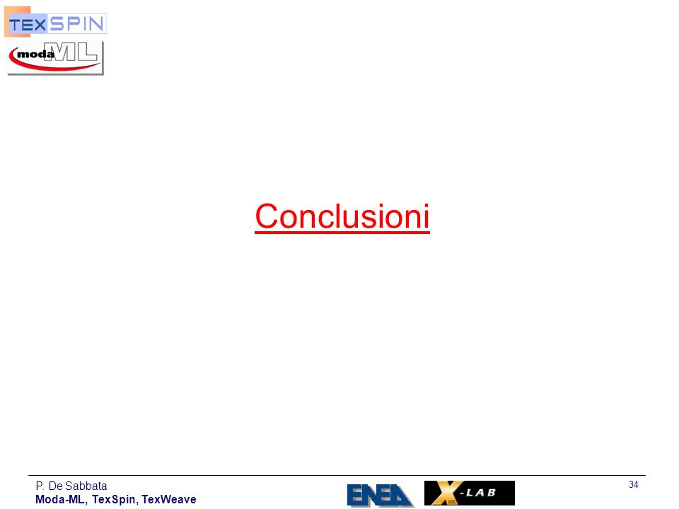 P. De Sabbata Moda-ML, TexSpin, TexWeave 34 Conclusioni