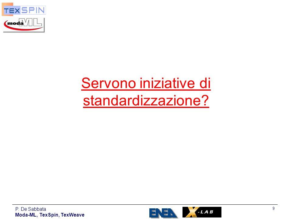 P. De Sabbata Moda-ML, TexSpin, TexWeave 30 Standardisation initiative TexWeave