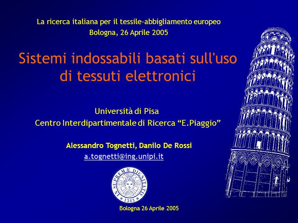 Bologna 26 Aprile 2005 Sistemi indossabili basati sull'uso di tessuti elettronici Università di Pisa Centro Interdipartimentale di Ricerca E.Piaggio A