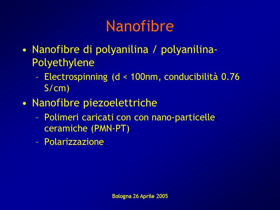 Bologna 26 Aprile 2005 Nanofibre Nanofibre di polyanilina / polyanilina- Polyethylene –Electrospinning (d < 100nm, conducibilità 0.76 S/cm) Nanofibre