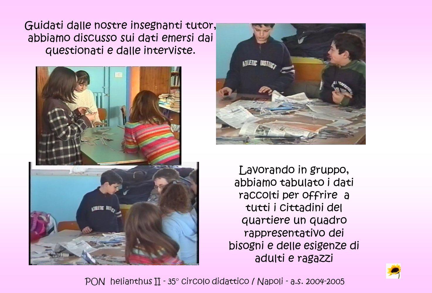 PON helianthus II - 35° circolo didattico / Napoli - a.s. 2004-2005 Guidati dalle nostre insegnanti tutor, abbiamo discusso sui dati emersi dai questi