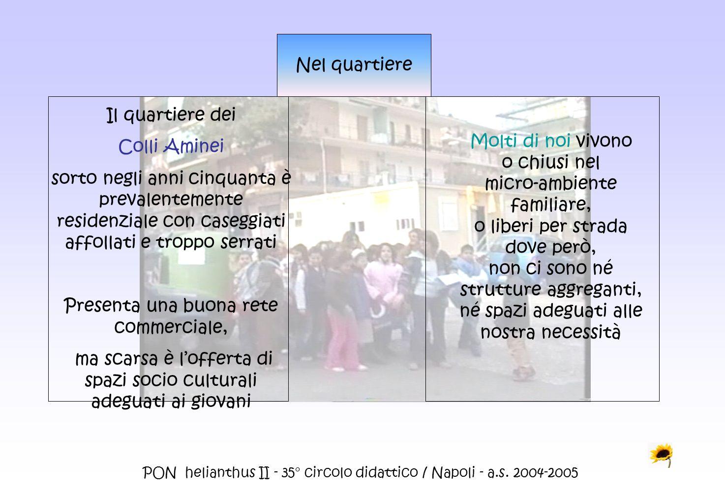 PON helianthus II - 35° circolo didattico / Napoli - a.s. 2004-2005 Nel quartiere Il quartiere dei Colli Aminei sorto negli anni cinquanta è prevalent