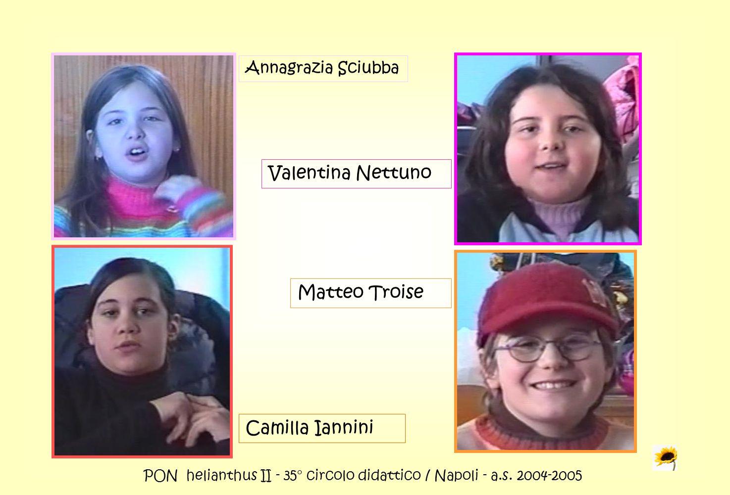 PON helianthus II - 35° circolo didattico / Napoli - a.s. 2004-2005 Annagrazia Sciubba Valentina Nettuno Camilla Iannini Matteo Troise