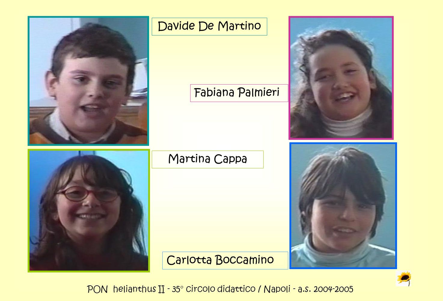 PON helianthus II - 35° circolo didattico / Napoli - a.s. 2004-2005 Davide De Martino Fabiana Palmieri Martina Cappa Carlotta Boccamino