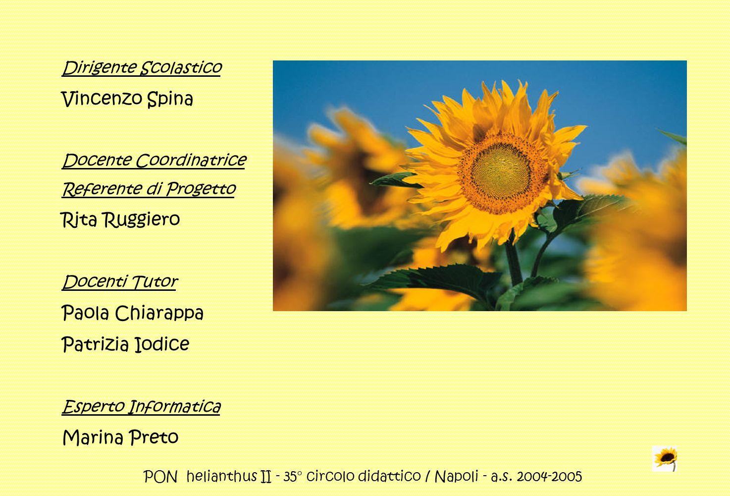PON helianthus II - 35° circolo didattico / Napoli - a.s. 2004-2005 Dirigente Scolastico Vincenzo Spina Docente Coordinatrice Referente di Progetto Ri