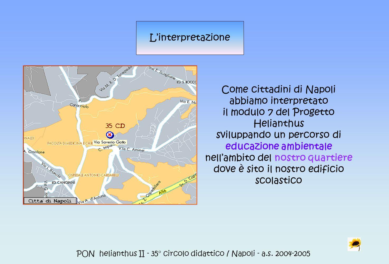 PON helianthus II - 35° circolo didattico / Napoli - a.s. 2004-2005 Linterpretazione Come cittadini di Napoli abbiamo interpretato il modulo 7 del Pro