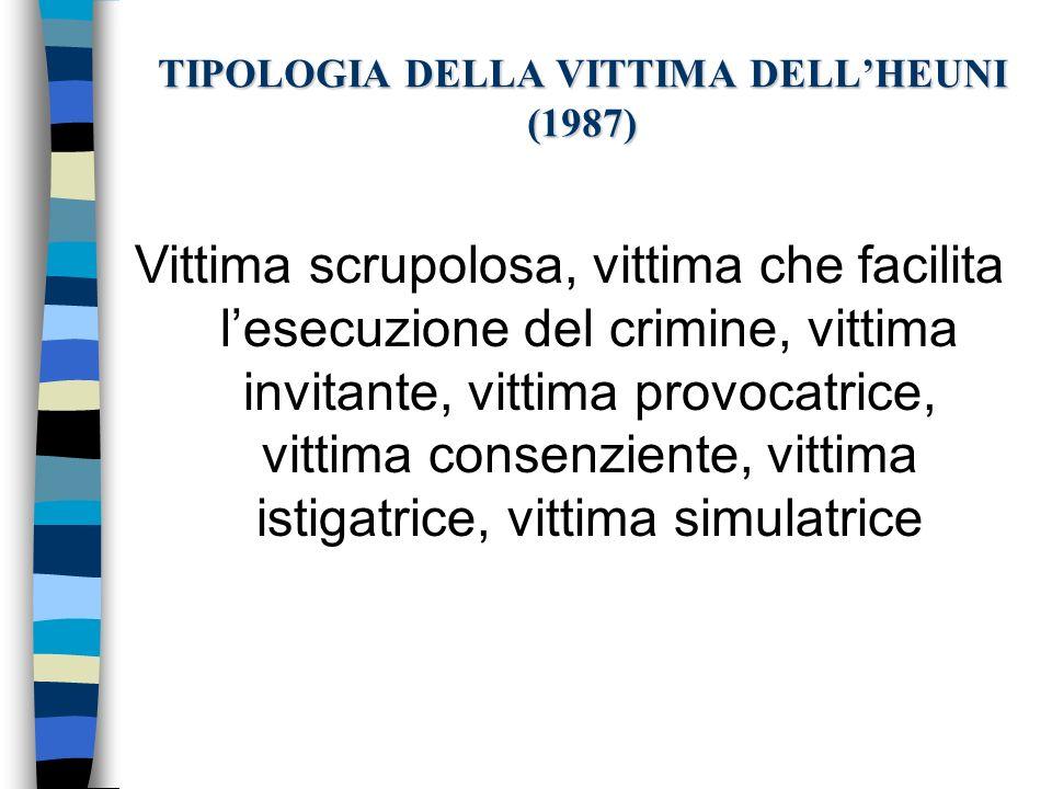 TIPOLOGIA DELLA VITTIMA DELLHEUNI (1987) Vittima scrupolosa, vittima che facilita lesecuzione del crimine, vittima invitante, vittima provocatrice, vi