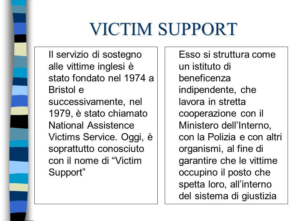 VICTIM SUPPORT Il servizio di sostegno alle vittime inglesi è stato fondato nel 1974 a Bristol e successivamente, nel 1979, è stato chiamato National