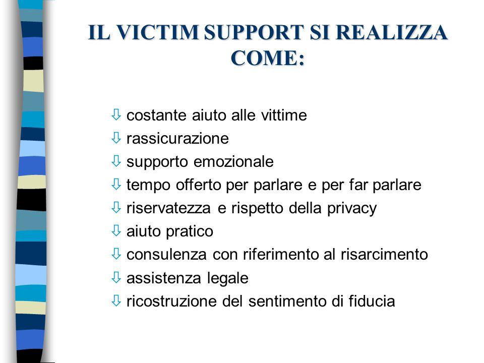 IL VICTIM SUPPORT SI REALIZZA COME: ò costante aiuto alle vittime ò rassicurazione ò supporto emozionale ò tempo offerto per parlare e per far parlare