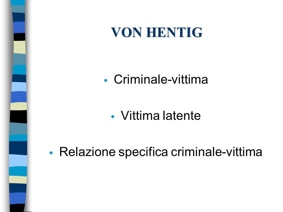 VON HENTIG w Criminale-vittima w Vittima latente w Relazione specifica criminale-vittima