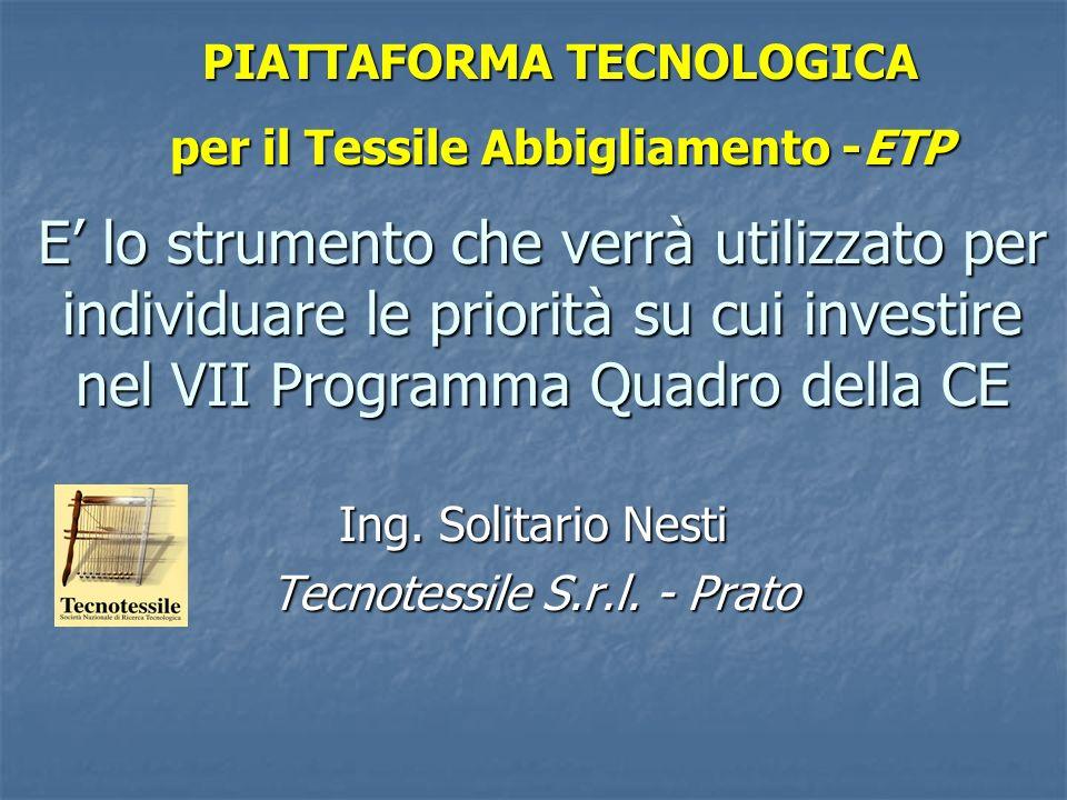 PIATTAFORMA TECNOLOGICA per il Tessile Abbigliamento -ETP E lo strumento che verrà utilizzato per individuare le priorità su cui investire nel VII Pro