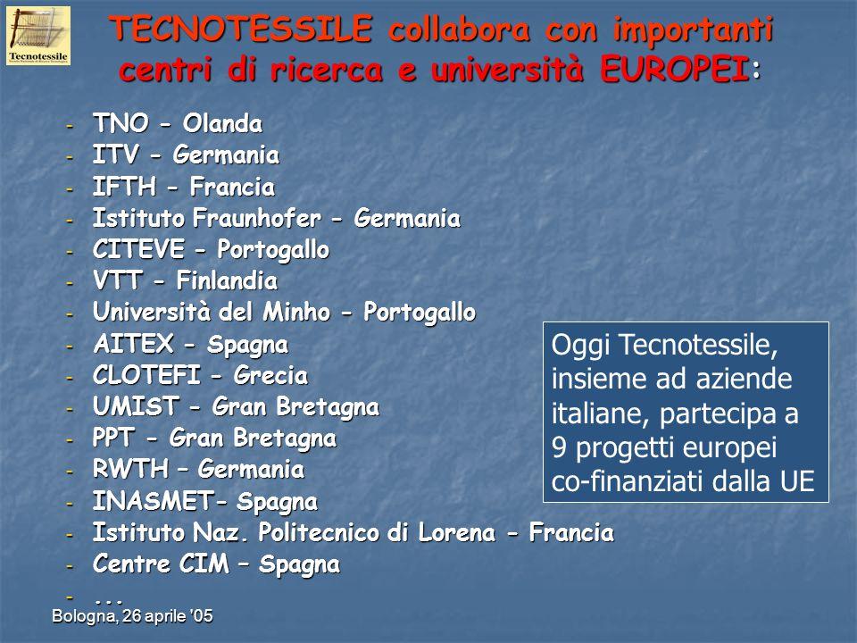 Bologna, 26 aprile '05 TECNOTESSILE collabora con importanti centri di ricerca e università EUROPEI: – TNO - Olanda – ITV - Germania – IFTH - Francia