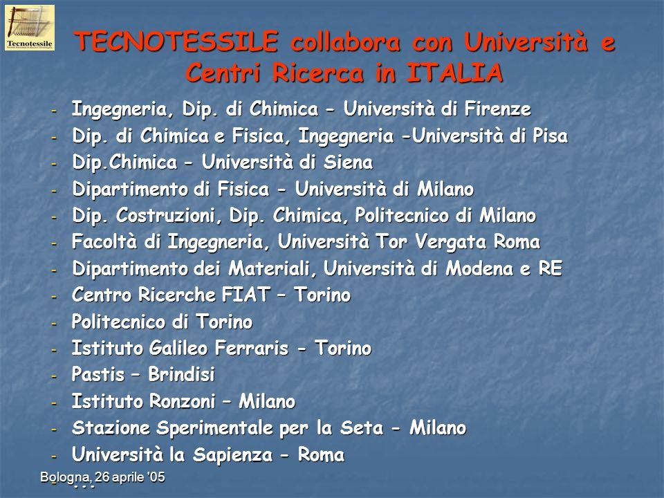 Bologna, 26 aprile '05 TECNOTESSILE collabora con Università e Centri Ricerca in ITALIA – Ingegneria, Dip. di Chimica - Università di Firenze – Dip. d