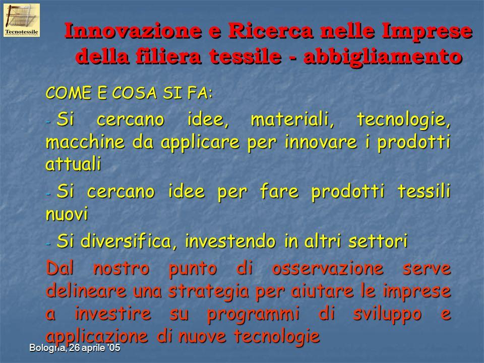 Bologna, 26 aprile '05 COME E COSA SI FA: - Si cercano idee, materiali, tecnologie, macchine da applicare per innovare i prodotti attuali - Si cercano