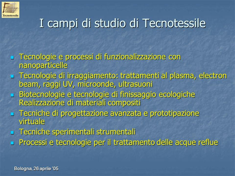 Bologna, 26 aprile '05 I campi di studio di Tecnotessile Tecnologie e processi di funzionalizzazione con nanoparticelle Tecnologie e processi di funzi