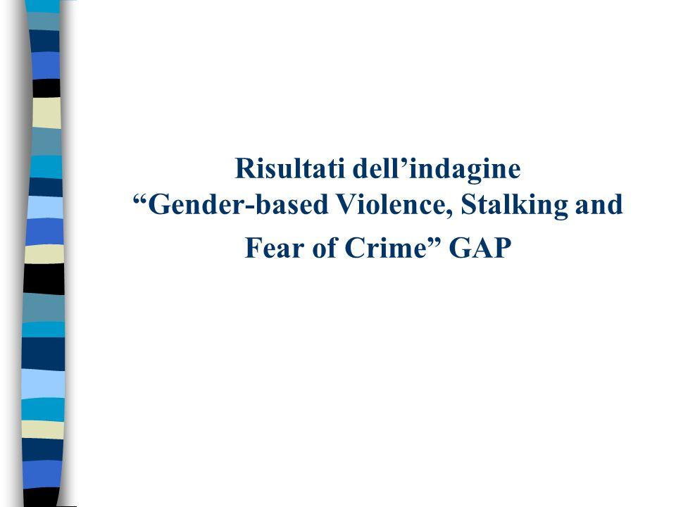 Risultati dellindagine Gender-based Violence, Stalking and Fear of Crime GAP