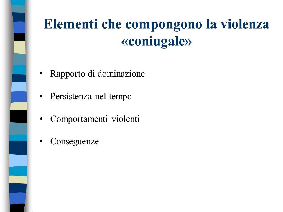 Elementi che compongono la violenza «coniugale» Rapporto di dominazione Persistenza nel tempo Comportamenti violenti Conseguenze
