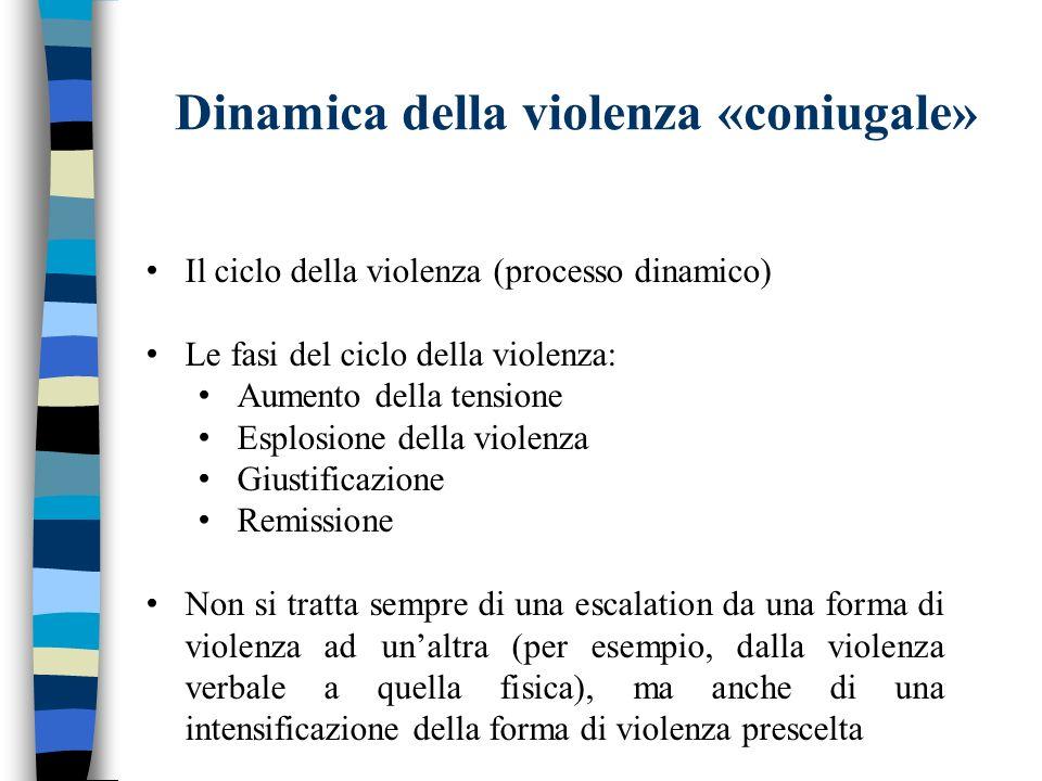 Dinamica della violenza «coniugale» Il ciclo della violenza (processo dinamico) Le fasi del ciclo della violenza: Aumento della tensione Esplosione de