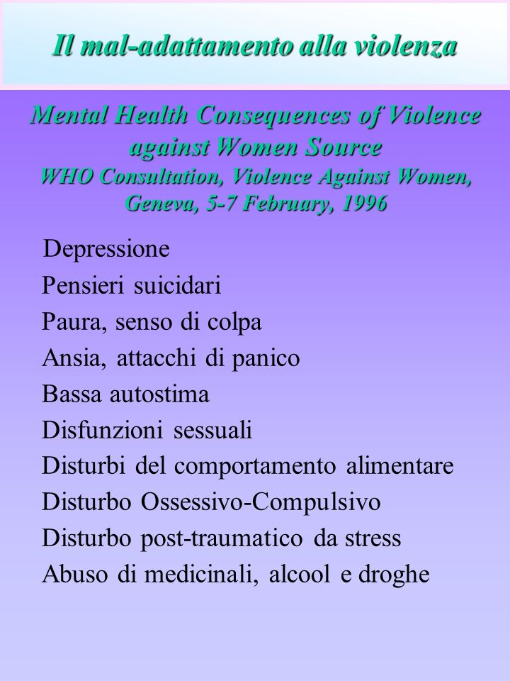 Mental Health Consequences of Violence against Women Source WHO Consultation, Violence Against Women, Geneva, 5-7 February, 1996 Depressione Pensieri