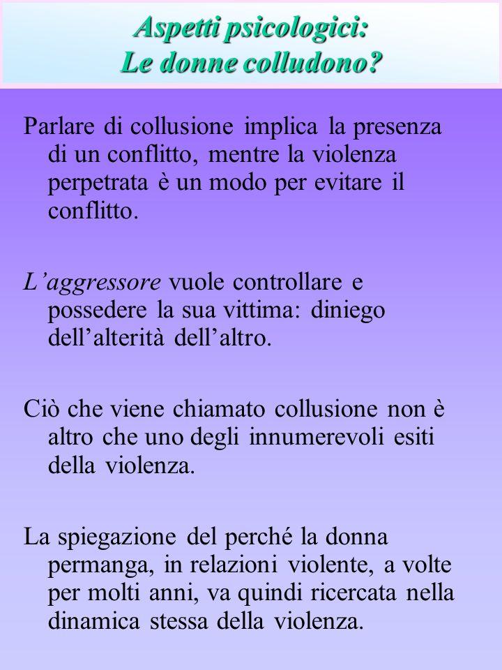Parlare di collusione implica la presenza di un conflitto, mentre la violenza perpetrata è un modo per evitare il conflitto. Laggressore vuole control