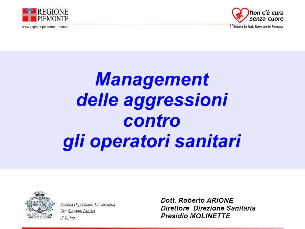 Management delle aggressioni contro gli operatori sanitari Dott. Roberto ARIONE Direttore Direzione Sanitaria Presidio MOLINETTE