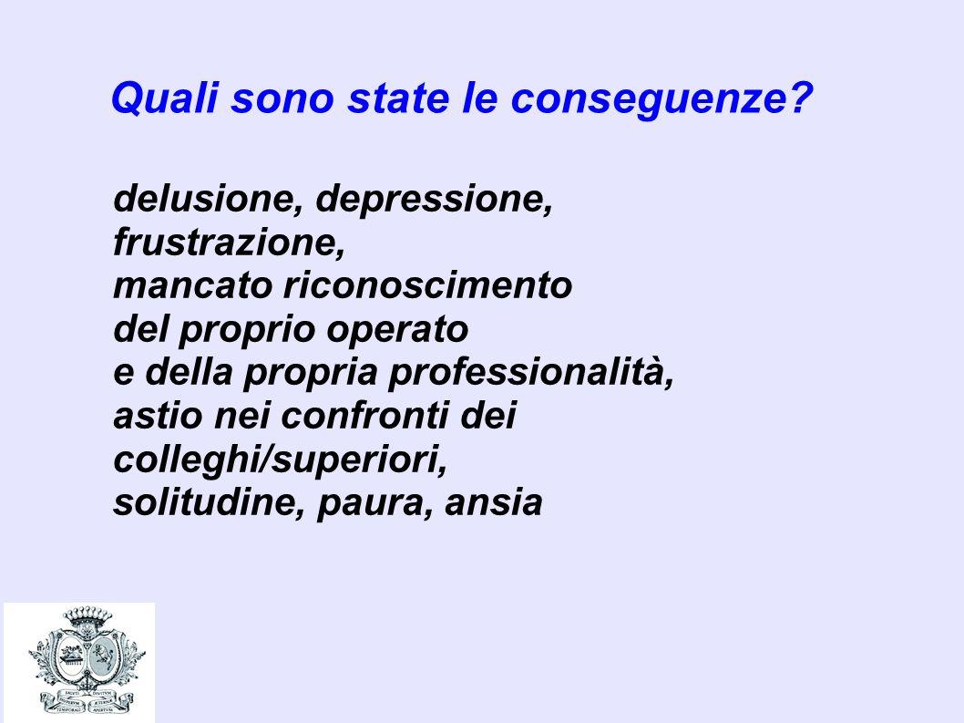 Quali sono state le conseguenze? delusione, depressione, frustrazione, mancato riconoscimento del proprio operato e della propria professionalità, ast
