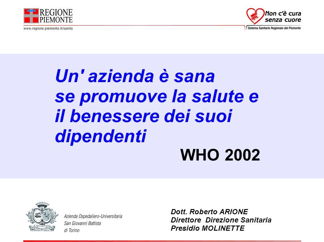 Dott. Roberto ARIONE Direttore Direzione Sanitaria Presidio MOLINETTE Un' azienda è sana se promuove la salute e il benessere dei suoi dipendenti WHO